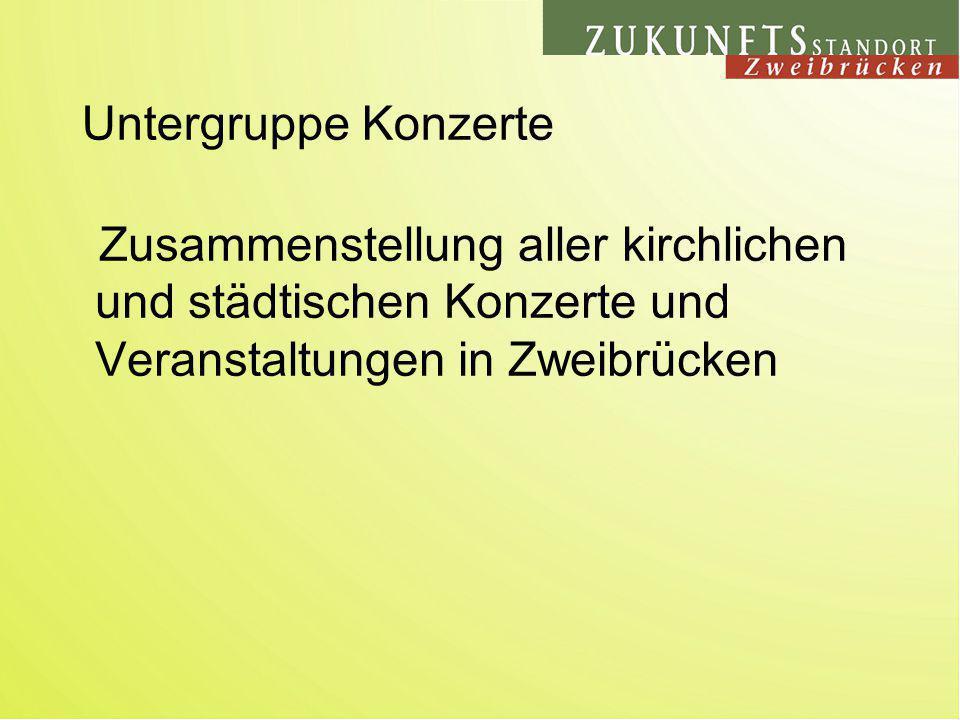Zusammenstellung aller kirchlichen und städtischen Konzerte und Veranstaltungen in Zweibrücken Untergruppe Konzerte