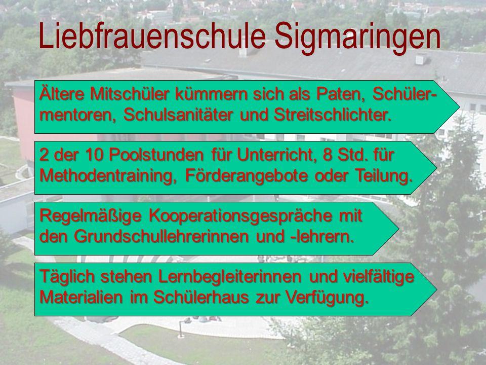 Liebfrauenschule Sigmaringen Regelmäßige Kooperationsgespräche mit den Grundschullehrerinnen und -lehrern. 2 der 10 Poolstunden für Unterricht, 8 Std.