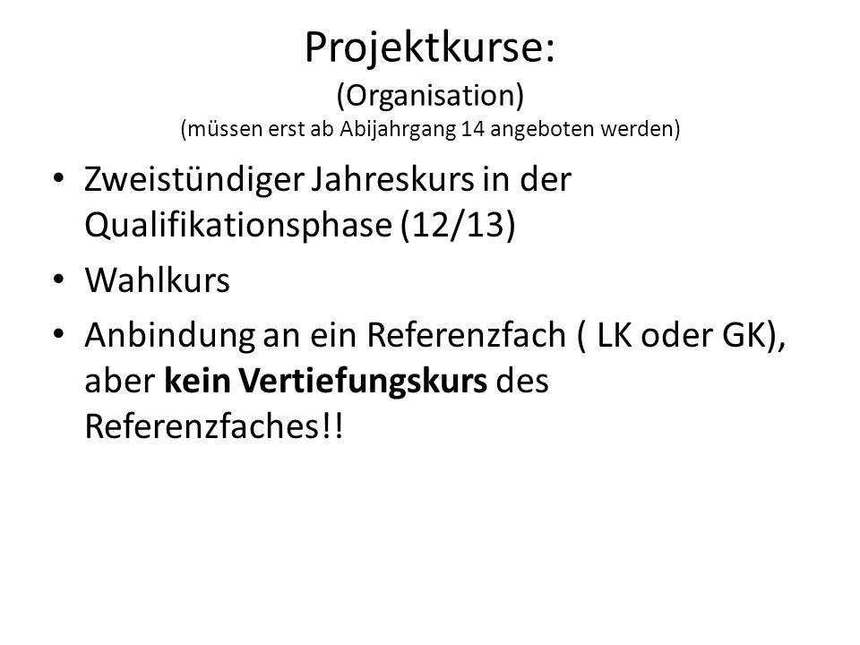 Projektkurse: (Organisation) (müssen erst ab Abijahrgang 14 angeboten werden) Zweistündiger Jahreskurs in der Qualifikationsphase (12/13) Wahlkurs Anb