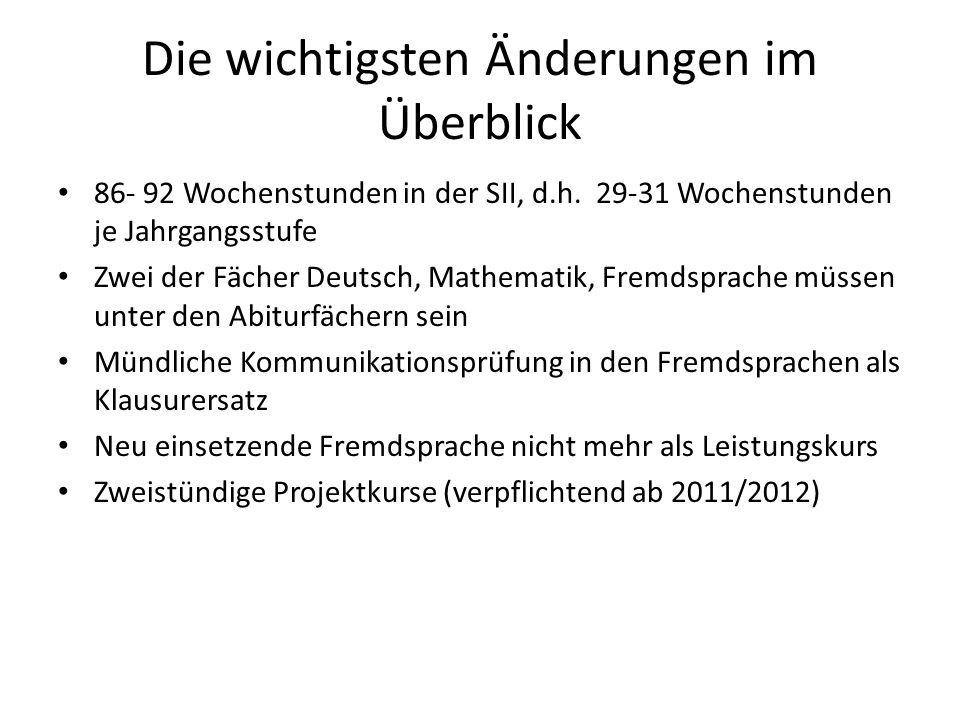 Die wichtigsten Änderungen im Überblick 86- 92 Wochenstunden in der SII, d.h. 29-31 Wochenstunden je Jahrgangsstufe Zwei der Fächer Deutsch, Mathemati