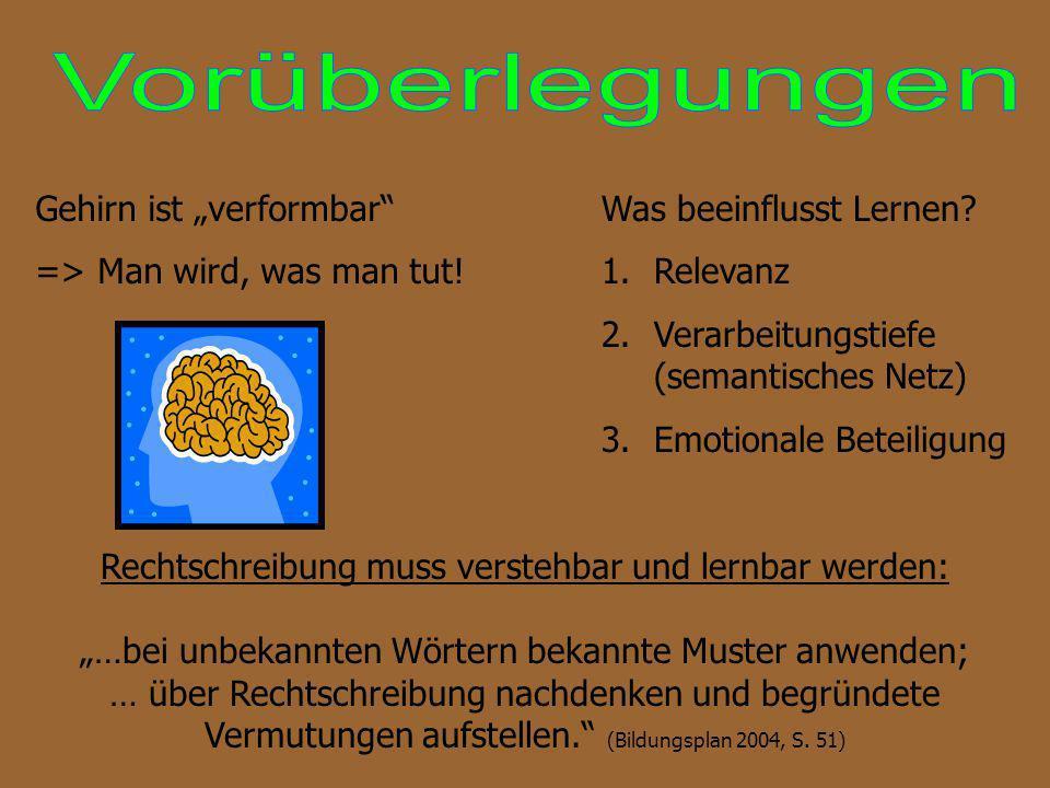 Rechtschreibung muss verstehbar und lernbar werden: …bei unbekannten Wörtern bekannte Muster anwenden; … über Rechtschreibung nachdenken und begründet