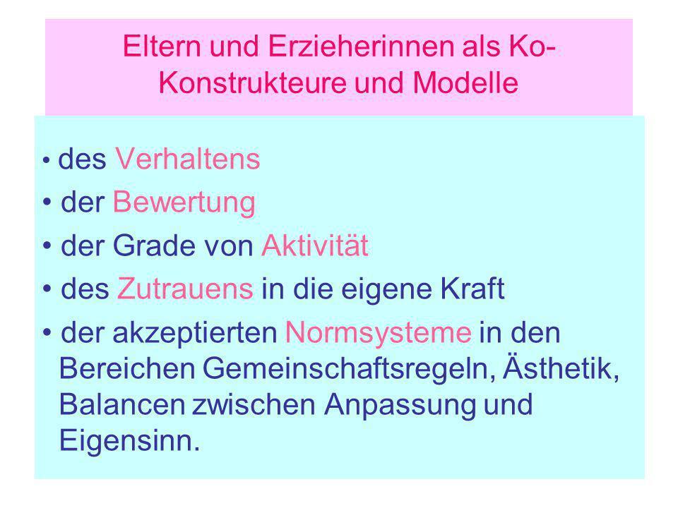 Eltern und Erzieherinnen als Ko- Konstrukteure und Modelle des Verhaltens der Bewertung der Grade von Aktivität des Zutrauens in die eigene Kraft der