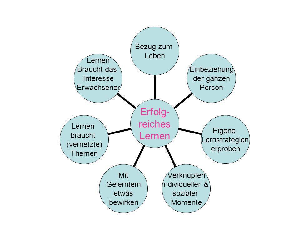Erfolg- reiches Lernen Bezug zum Leben Einbeziehung der ganzen Person Eigene Lernstrategien erproben Verknüpfen individueller & sozialer Momente Mit G