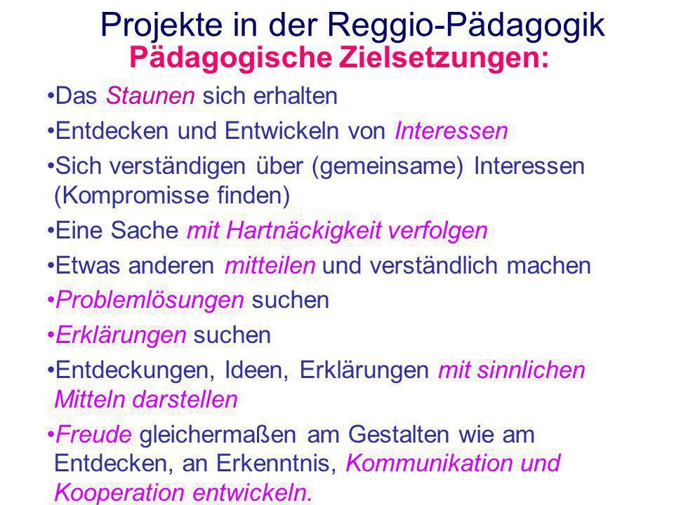 Projekte in der Reggio-Pädagogik Pädagogische Zielsetzungen: Das Staunen sich erhalten Entdecken und Entwickeln von Interessen Sich verständigen über