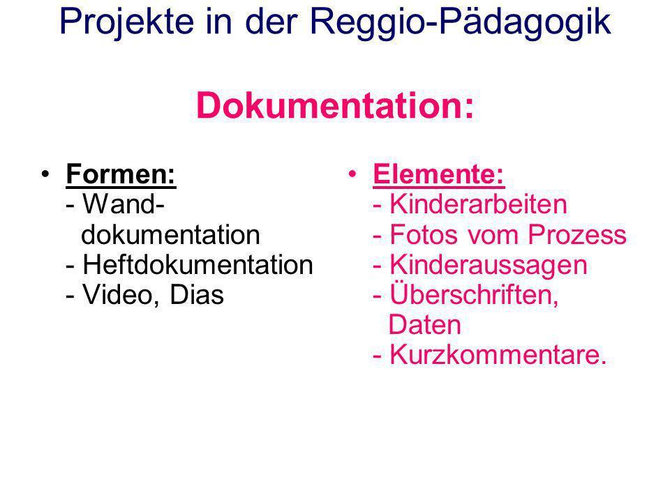 Projekte in der Reggio-Pädagogik Dokumentation: Formen: - Wand- dokumentation - Heftdokumentation - Video, Dias Elemente: - Kinderarbeiten - Fotos vom