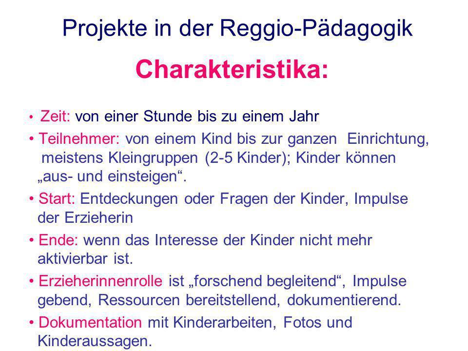 Projekte in der Reggio-Pädagogik Charakteristika: Zeit: von einer Stunde bis zu einem Jahr Teilnehmer: von einem Kind bis zur ganzen Einrichtung, meis