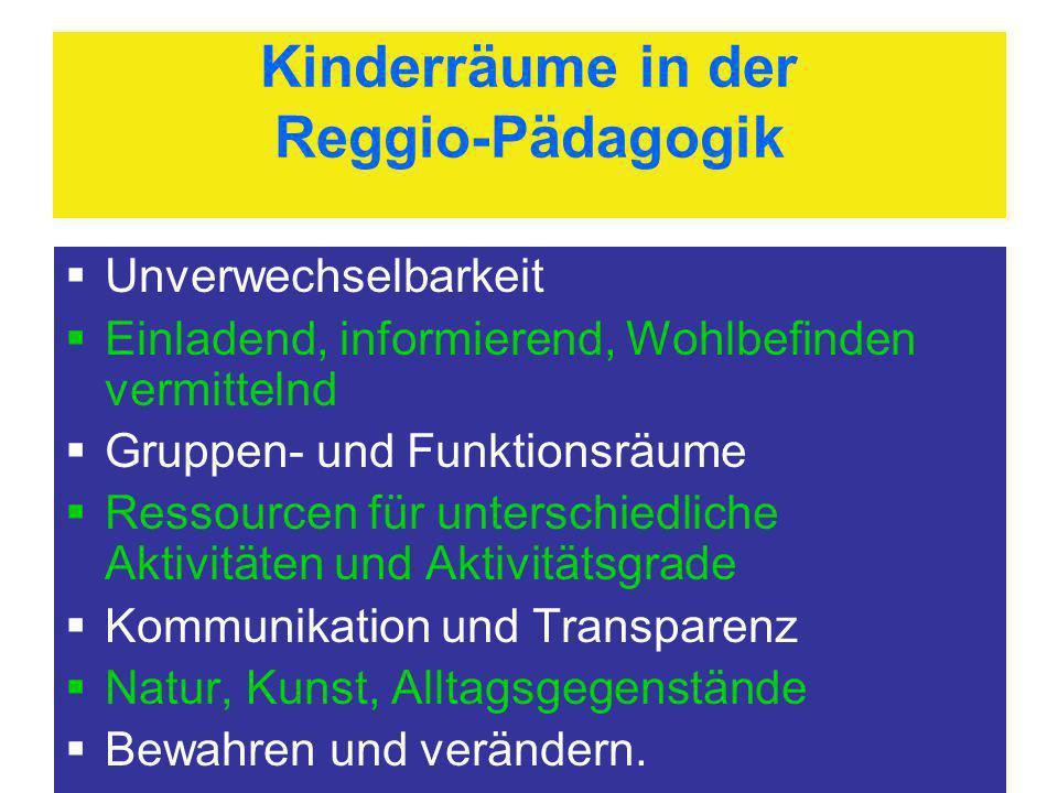 Kinderräume in der Reggio-Pädagogik Unverwechselbarkeit Einladend, informierend, Wohlbefinden vermittelnd Gruppen- und Funktionsräume Ressourcen für u