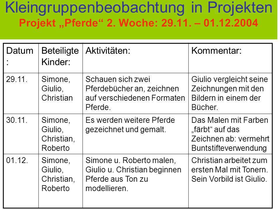 Kleingruppenbeobachtung in Projekten Projekt Pferde 2. Woche: 29.11. – 01.12.2004 Datum : Beteiligte Kinder: Aktivitäten:Kommentar: 29.11.Simone, Giul