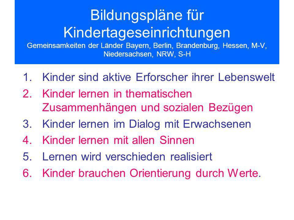 Bildungspläne für Kindertageseinrichtungen Gemeinsamkeiten der Länder Bayern, Berlin, Brandenburg, Hessen, M-V, Niedersachsen, NRW, S-H 1.Kinder sind