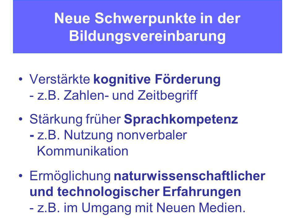 Verstärkte kognitive Förderung - z.B. Zahlen- und Zeitbegriff Stärkung früher Sprachkompetenz - z.B. Nutzung nonverbaler Kommunikation Ermöglichung na