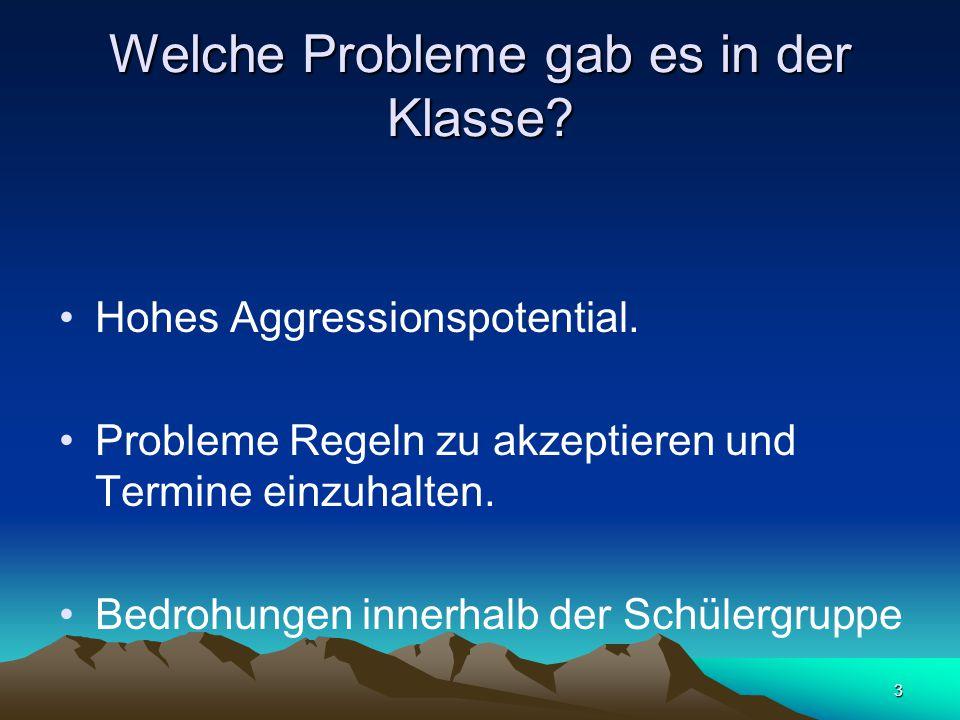 3 Welche Probleme gab es in der Klasse? Hohes Aggressionspotential. Probleme Regeln zu akzeptieren und Termine einzuhalten. Bedrohungen innerhalb der