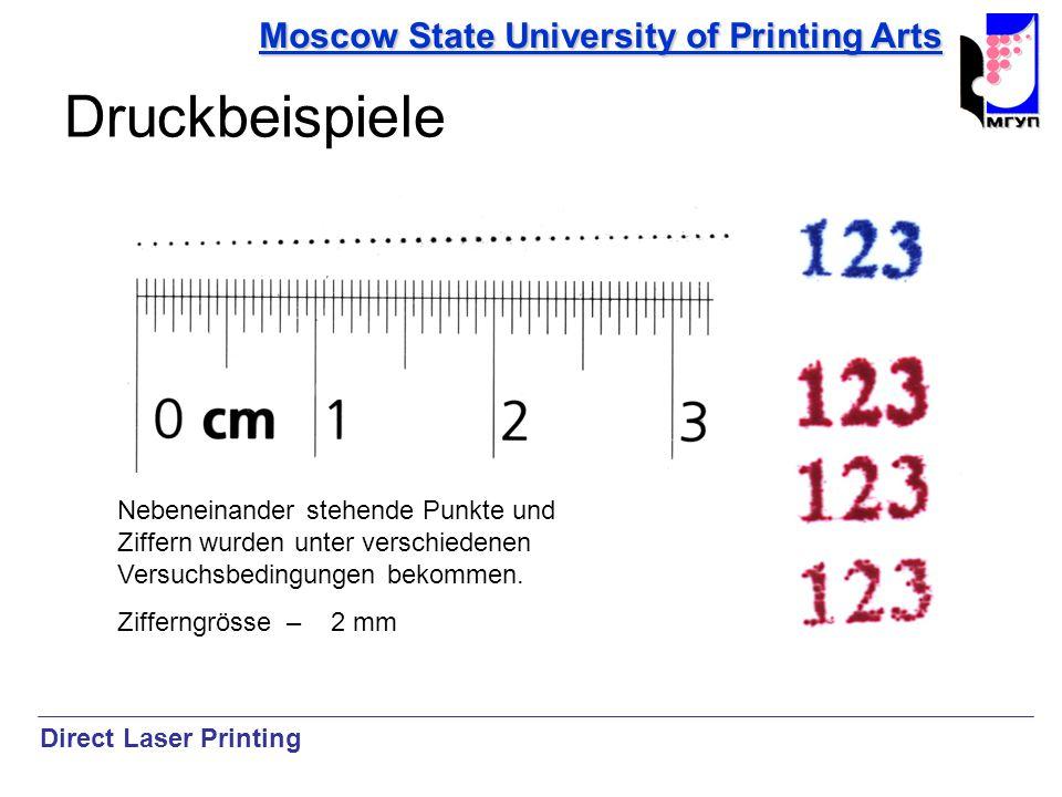 Moscow State University of Printing Arts Druckbeispiele Nebeneinander stehende Punkte und Ziffern wurden unter verschiedenen Versuchsbedingungen bekom