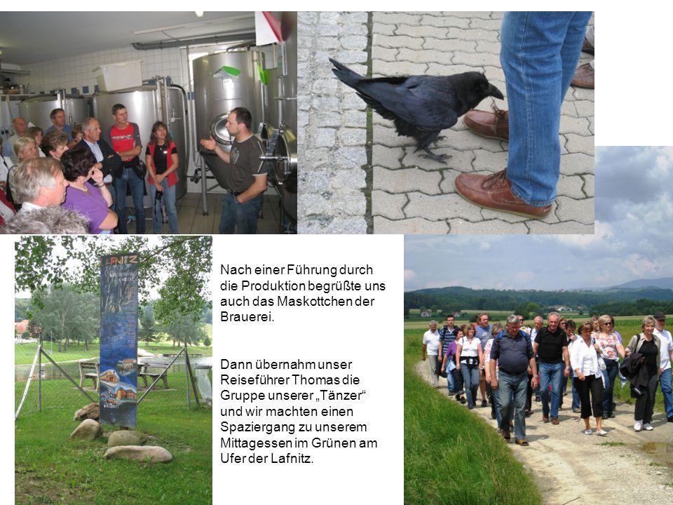 Nach einer Führung durch die Produktion begrüßte uns auch das Maskottchen der Brauerei.
