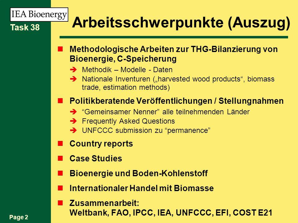 Page 2 Task 38 Arbeitsschwerpunkte (Auszug) Methodologische Arbeiten zur THG-Bilanzierung von Bioenergie, C-Speicherung Methodik – Modelle - Daten Nationale Inventuren (harvested wood products, biomass trade, estimation methods) Politikberatende Veröffentlichungen / Stellungnahmen Gemeinsamer Nenner alle teilnehmenden Länder Frequently Asked Questions UNFCCC submission zu permanence Country reports Case Studies Bioenergie und Boden-Kohlenstoff Internationaler Handel mit Biomasse Zusammenarbeit: Weltbank, FAO, IPCC, IEA, UNFCCC, EFI, COST E21