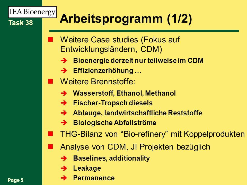 Page 5 Task 38 Arbeitsprogramm (1/2) Weitere Case studies (Fokus auf Entwicklungsländern, CDM) Bioenergie derzeit nur teilweise im CDM Effizienzerhöhung … Weitere Brennstoffe: Wasserstoff, Ethanol, Methanol Fischer-Tropsch diesels Ablauge, landwirtschaftliche Reststoffe Biologische Abfallströme THG-Bilanz von Bio-refinery mit Koppelprodukten Analyse von CDM, JI Projekten bezüglich Baselines, additionality Leakage Permanence