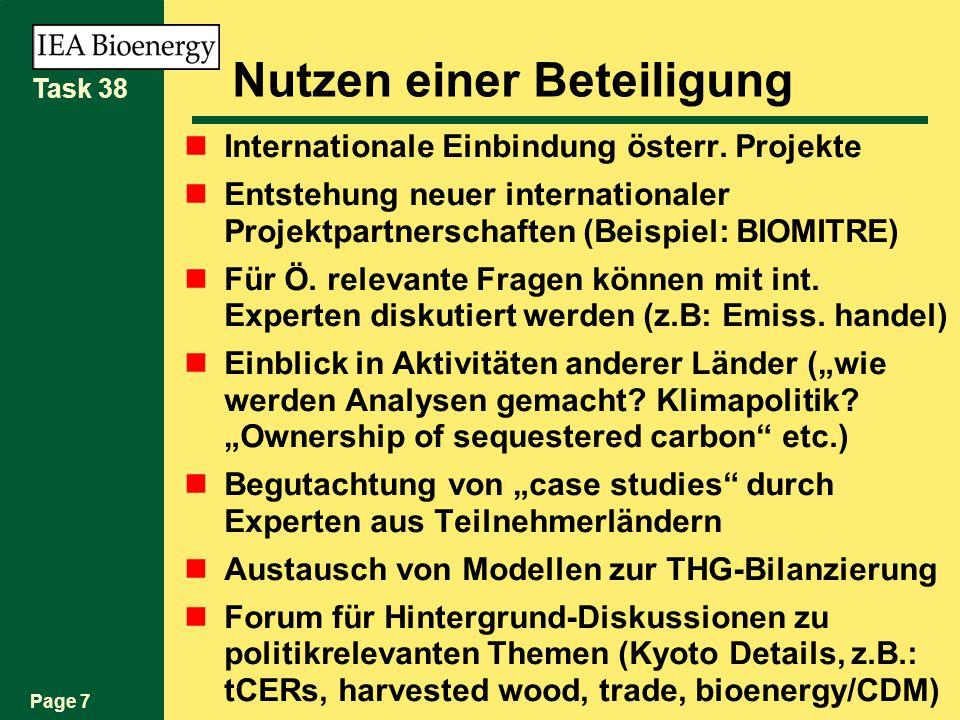 Page 7 Task 38 Nutzen einer Beteiligung Internationale Einbindung österr.