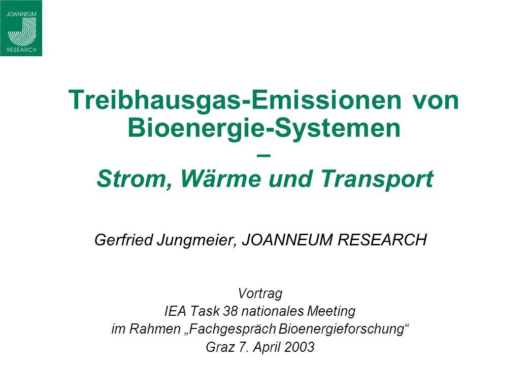 Treibhausgas-Emissionen von Bioenergie-Systemen – Strom, Wärme und Transport Gerfried Jungmeier, JOANNEUM RESEARCH Vortrag IEA Task 38 nationales Meet