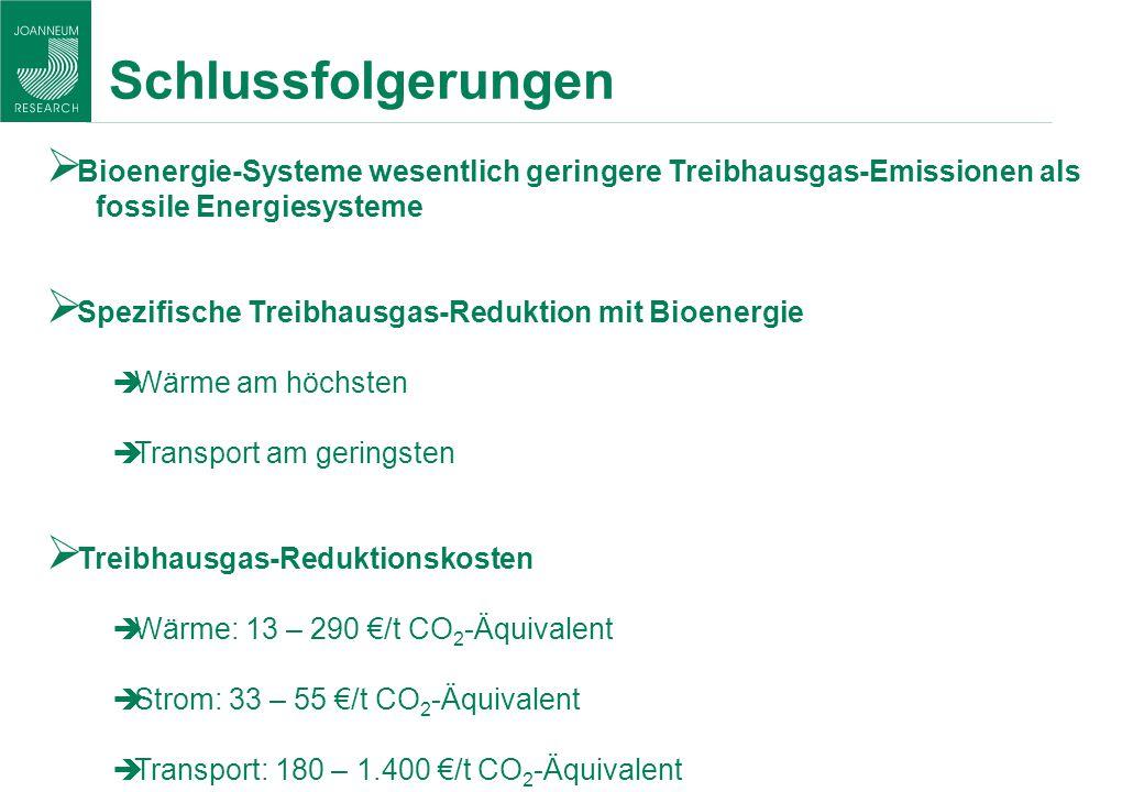 Schlussfolgerungen Bioenergie-Systeme wesentlich geringere Treibhausgas-Emissionen als fossile Energiesysteme Spezifische Treibhausgas-Reduktion mit B