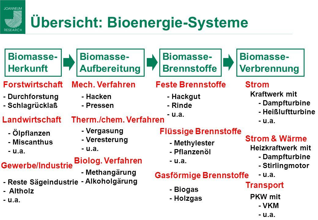 Übersicht: Bioenergie-Systeme Biomasse- Herkunft Biomasse- Aufbereitung Biomasse- Brennstoffe Biomasse- Verbrennung Forstwirtschaft - Durchforstung -