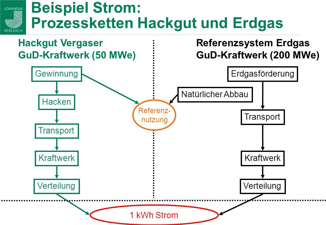 Beispiel Strom: Prozessketten Hackgut und Erdgas Gewinnung Hacken Transport Kraftwerk Verteilung 1 kWh Strom Hackgut Vergaser GuD-Kraftwerk (50 MWe) E