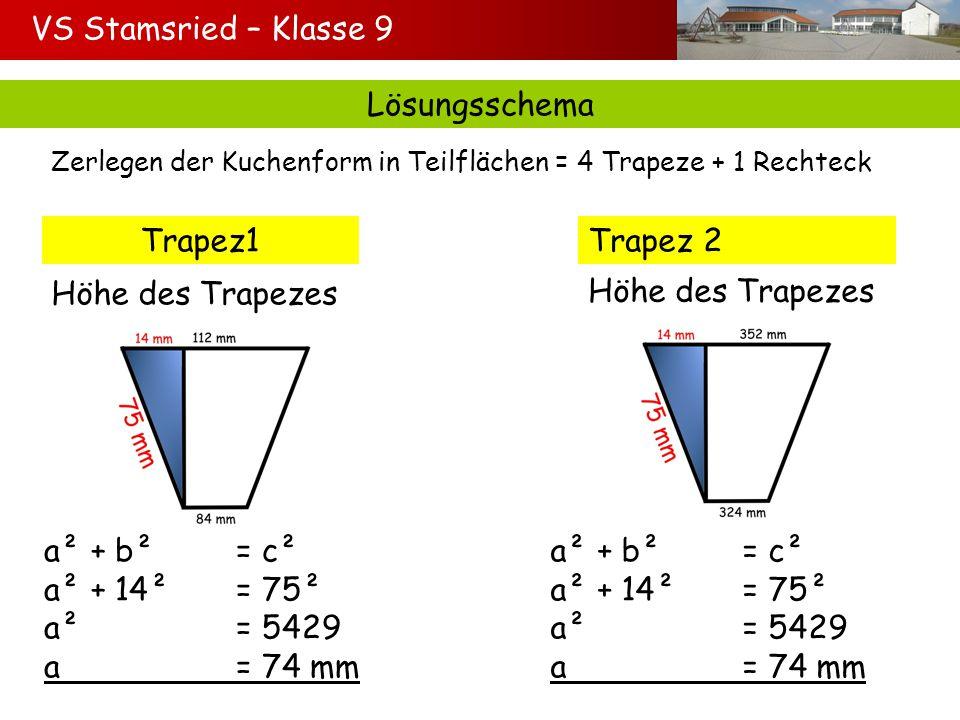 Lösungsschema Zerlegen der Kuchenform in Teilflächen = 4 Trapeze + 1 Rechteck Trapez1Trapez 2 Höhe des Trapezes a² + b²= c² a² + 14²= 75² a²= 5429 a=