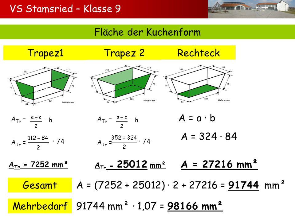VS Stamsried – Klasse 9 Fläche der Kuchenform Trapez1Trapez 2Rechteck Gesamt A Tr = h 74 A Tr = 7252 mm² A Tr = h 74 A Tr = 25012 mm² A = a b A = 324