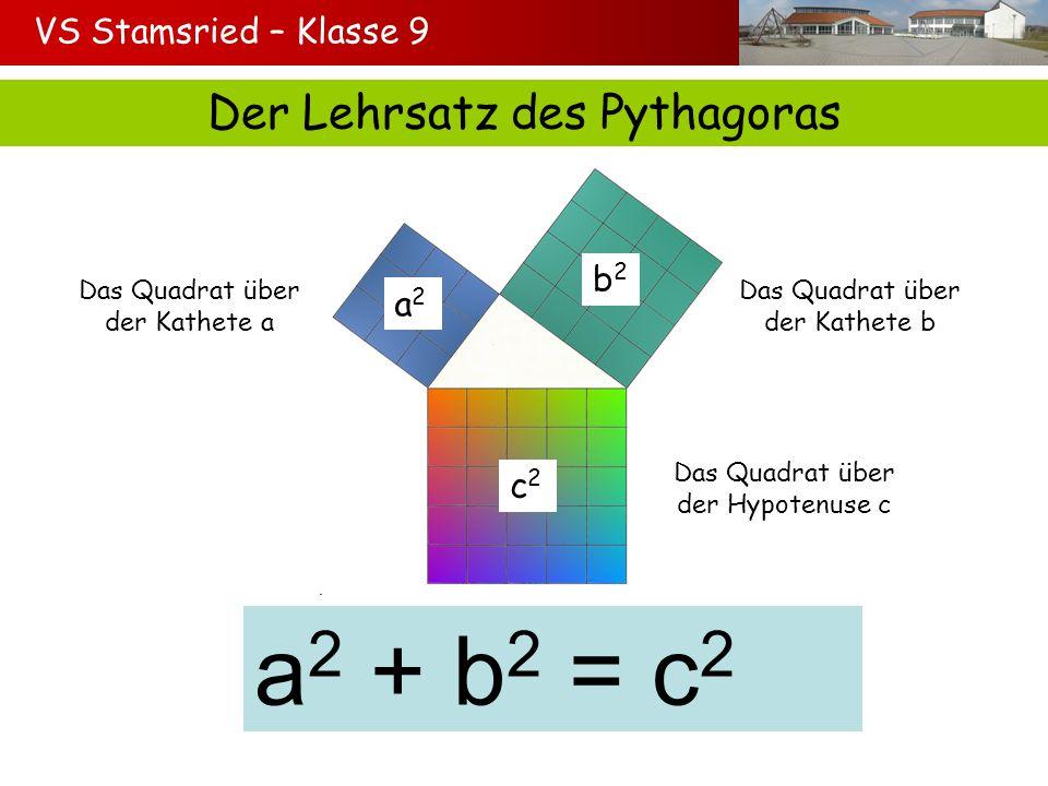 VS Stamsried – Klasse 9 Wende den Satz des Pythagoras an a² b² c² a² + b² = c² a² + 5² = 13² a² = 13² - 5² a² = 144 Die Kathete a ist 12 cm lang.