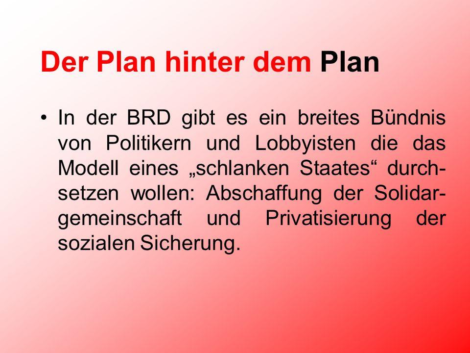 Der Plan hinter dem Plan In der BRD gibt es ein breites Bündnis von Politikern und Lobbyisten die das Modell eines schlanken Staates durch- setzen wollen: Abschaffung der Solidar- gemeinschaft und Privatisierung der sozialen Sicherung.