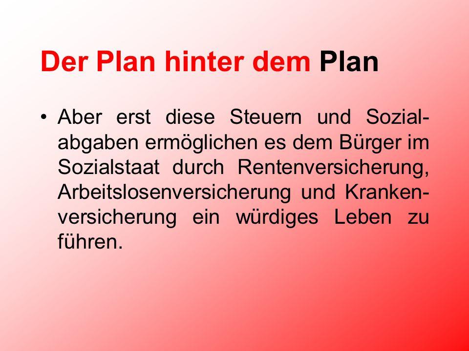 Der Plan hinter dem Plan Aber erst diese Steuern und Sozial- abgaben ermöglichen es dem Bürger im Sozialstaat durch Rentenversicherung, Arbeitslosenversicherung und Kranken- versicherung ein würdiges Leben zu führen.