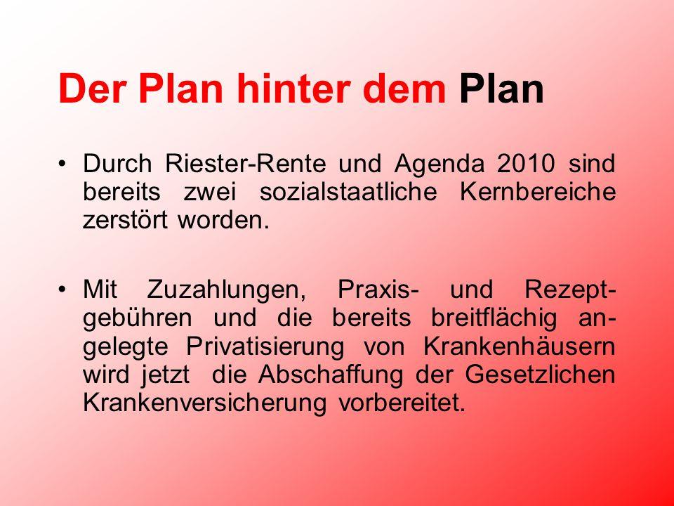Der Plan hinter dem Plan Durch Riester-Rente und Agenda 2010 sind bereits zwei sozialstaatliche Kernbereiche zerstört worden.