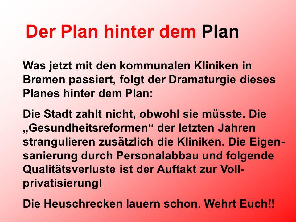 Der Plan hinter dem Plan Was jetzt mit den kommunalen Kliniken in Bremen passiert, folgt der Dramaturgie dieses Planes hinter dem Plan: Die Stadt zahlt nicht, obwohl sie müsste.
