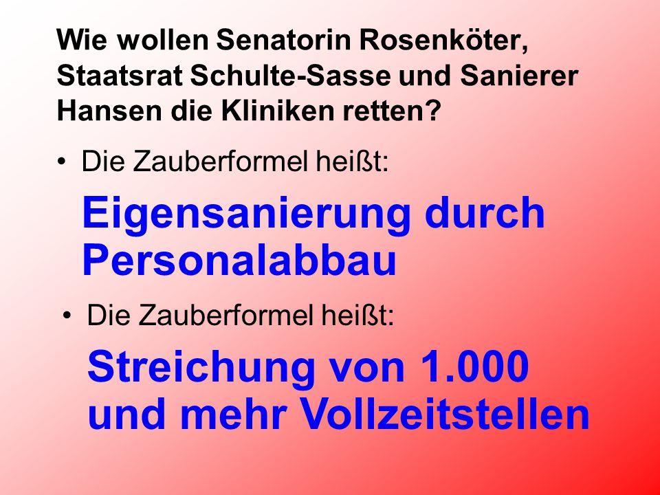 Wie wollen Senatorin Rosenköter, Staatsrat Schulte-Sasse und Sanierer Hansen die Kliniken retten.