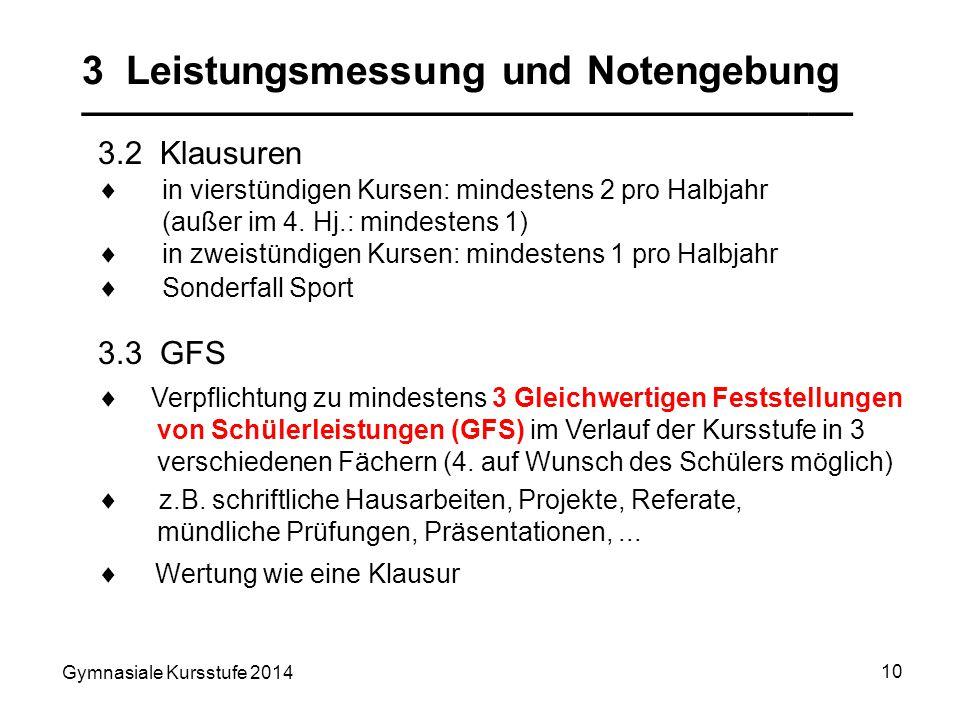 Gymnasiale Kursstufe 2014 10 3 Leistungsmessung und Notengebung ___________________________________ 3.2 Klausuren 3.3 GFS Verpflichtung zu mindestens