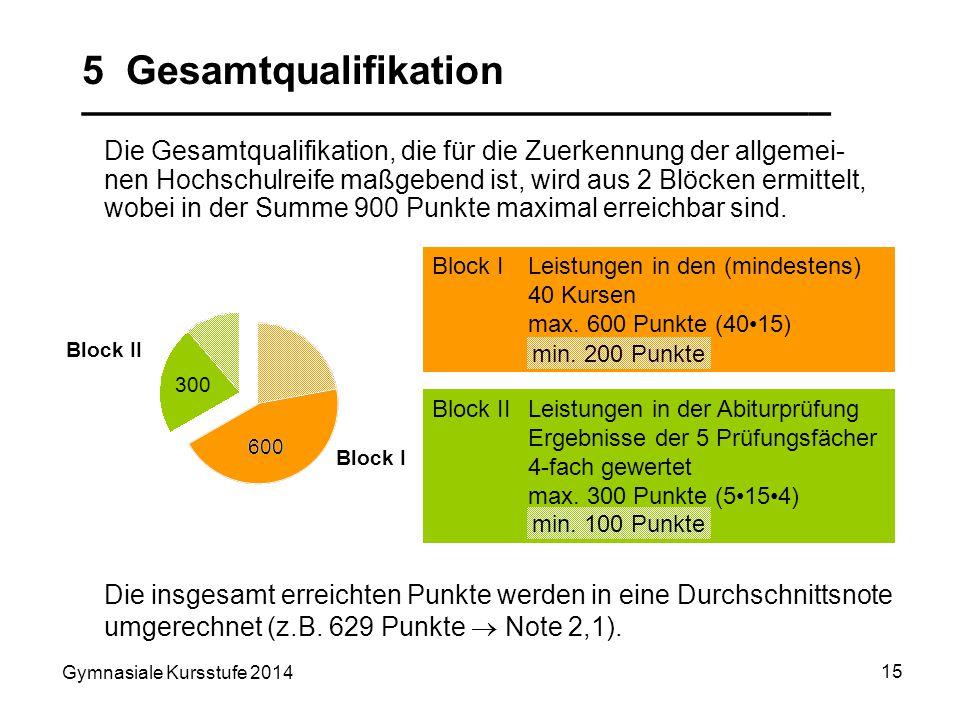 Gymnasiale Kursstufe 2014 15 Block I 600 Block II 300 5 Gesamtqualifikation __________________________________ Die Gesamtqualifikation, die für die Zu