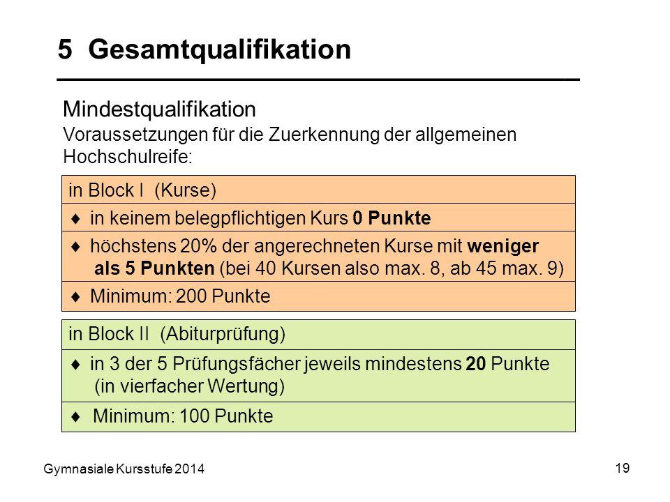 Gymnasiale Kursstufe 2014 19 5 Gesamtqualifikation __________________________________ Mindestqualifikation in Block II (Abiturprüfung) in Block I (Kur