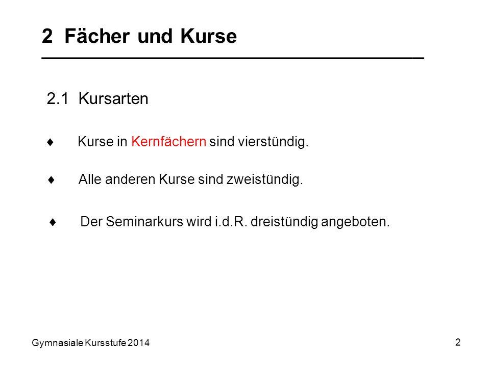 Gymnasiale Kursstufe 2014 3 2 Fächer und Kurse __________________________________ 2.2 Kernfächer (4-stündig) Deutsch Mathematik eine Fremdsprache eine weitere Fremdsprache oder Naturwissenschaft (Bio, Ch, Ph) ein beliebiges weiteres Fach des Pflichtbereichs In den 4 Halbjahren der Kursstufe müssen im Umfang von je 4 Wochenstunden 5 Kernfächer belegt werden: