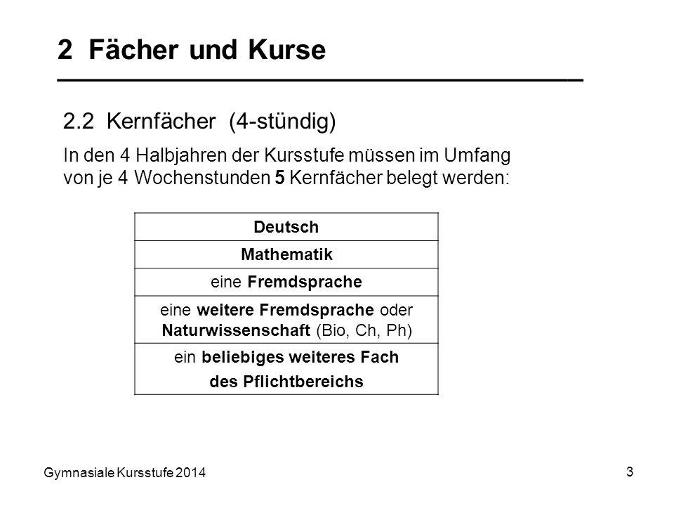 Gymnasiale Kursstufe 2014 3 2 Fächer und Kurse __________________________________ 2.2 Kernfächer (4-stündig) Deutsch Mathematik eine Fremdsprache eine