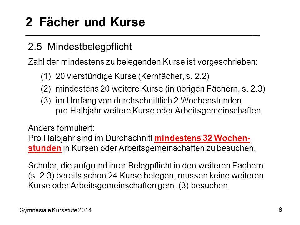 Gymnasiale Kursstufe 2014 6 2 Fächer und Kurse __________________________________ 2.5 Mindestbelegpflicht Anders formuliert: Pro Halbjahr sind im Durc