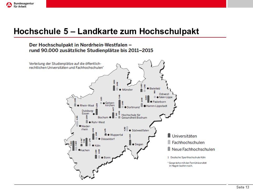 Seite 13 Hochschule 5 – Landkarte zum Hochschulpakt