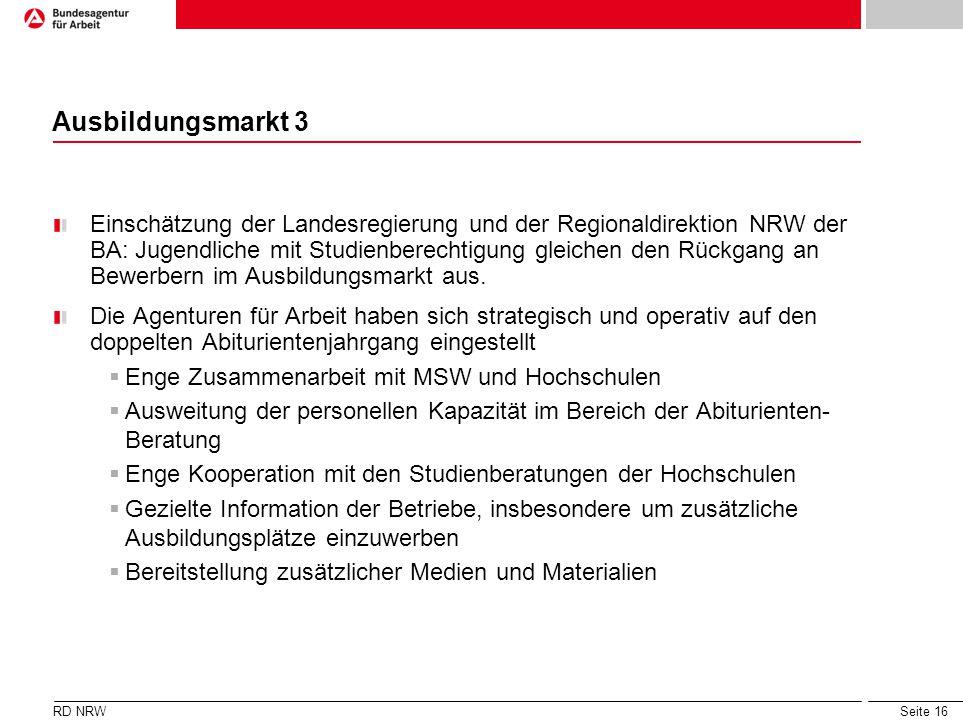 Seite 16 Ausbildungsmarkt 3 Einschätzung der Landesregierung und der Regionaldirektion NRW der BA: Jugendliche mit Studienberechtigung gleichen den Rü