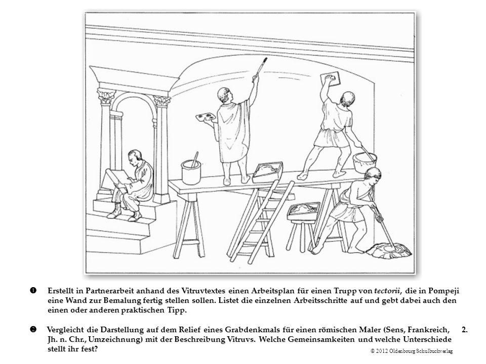 ŒErstellt in Partnerarbeit anhand des Vitruvtextes einen Arbeitsplan für einen Trupp von tectorii, die in Pompeji eine Wand zur Bemalung fertig stellen sollen.