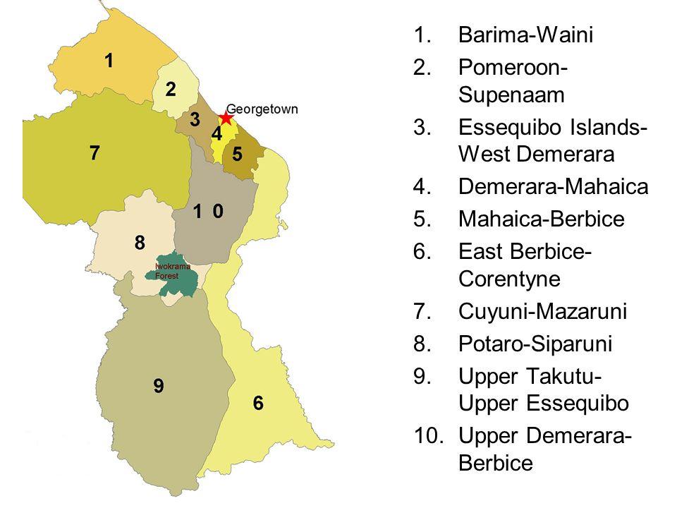 1.Barima-Waini 2.Pomeroon- Supenaam 3.Essequibo Islands- West Demerara 4.Demerara-Mahaica 5.Mahaica-Berbice 6.East Berbice- Corentyne 7.Cuyuni-Mazarun