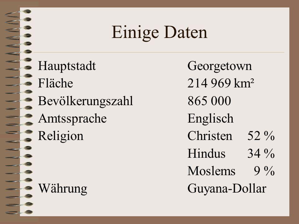 Einige Daten HauptstadtGeorgetown Fläche214 969 km² Bevölkerungszahl865 000 AmtsspracheEnglisch ReligionChristen52 % Hindus34 % Moslems 9 % WährungGuy