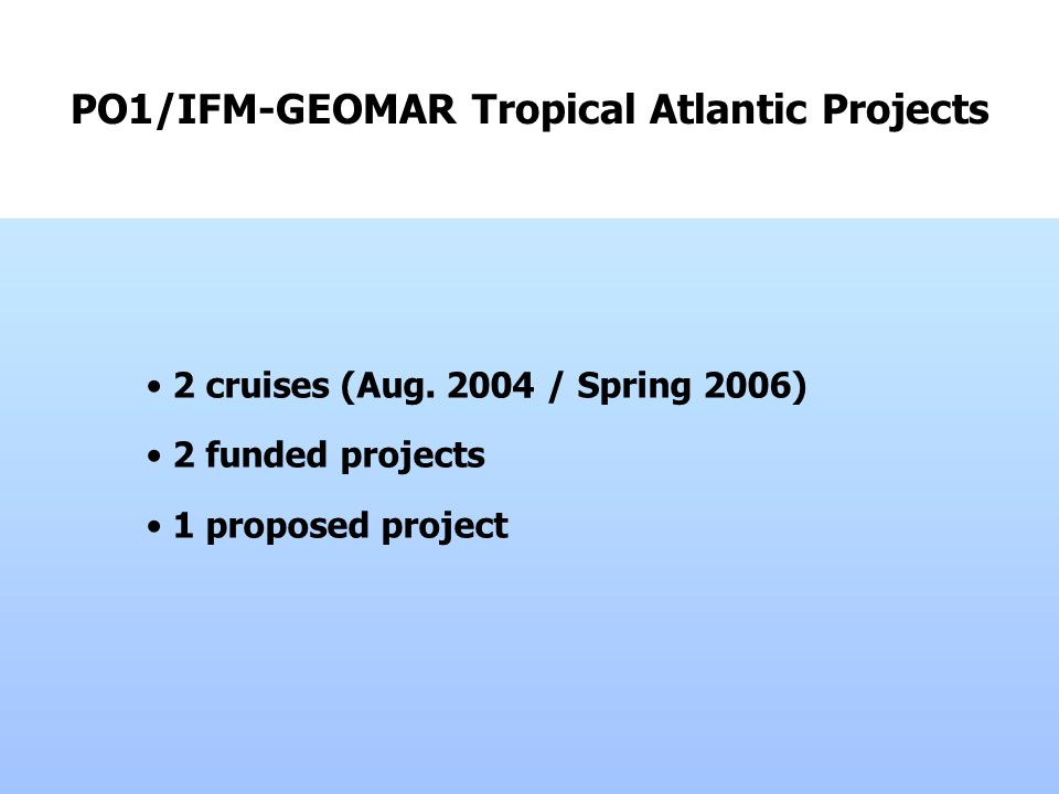 PO1/IFM-GEOMAR Tropical Atlantic Projects 2 cruises (Aug.