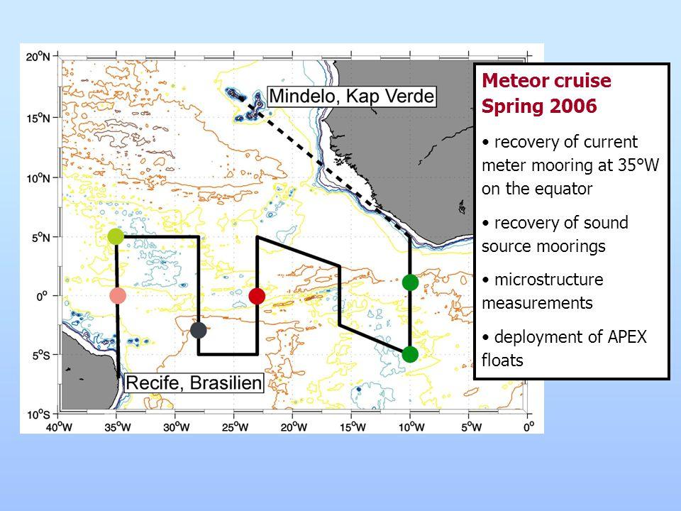 ARGO – Tropical Atlantic (Fischer/Schott) 15 APEX floats will be deployed during Meteor cruise M62/2 (Aug.