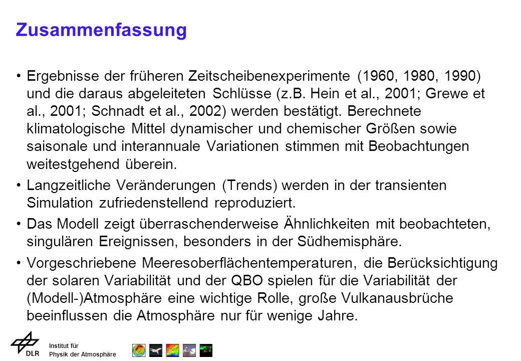 Institut für Physik der Atmosphäre Zusammenfassung Ergebnisse der früheren Zeitscheibenexperimente (1960, 1980, 1990) und die daraus abgeleiteten Schlüsse (z.B.