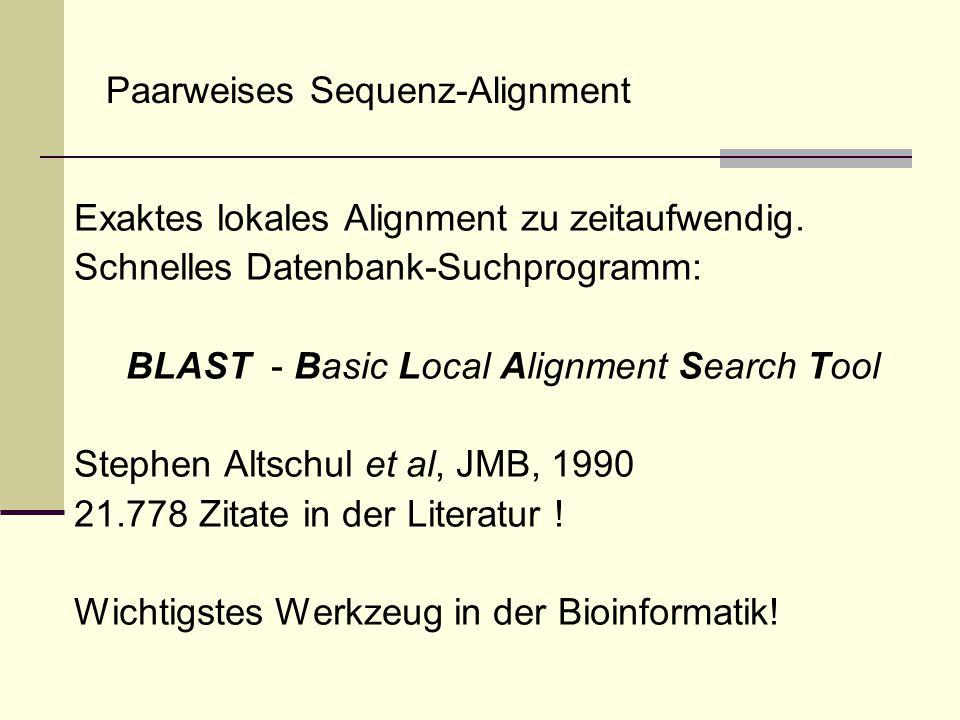 Paarweises Sequenz-Alignment Exaktes lokales Alignment zu zeitaufwendig. Schnelles Datenbank-Suchprogramm: BLAST - Basic Local Alignment Search Tool S
