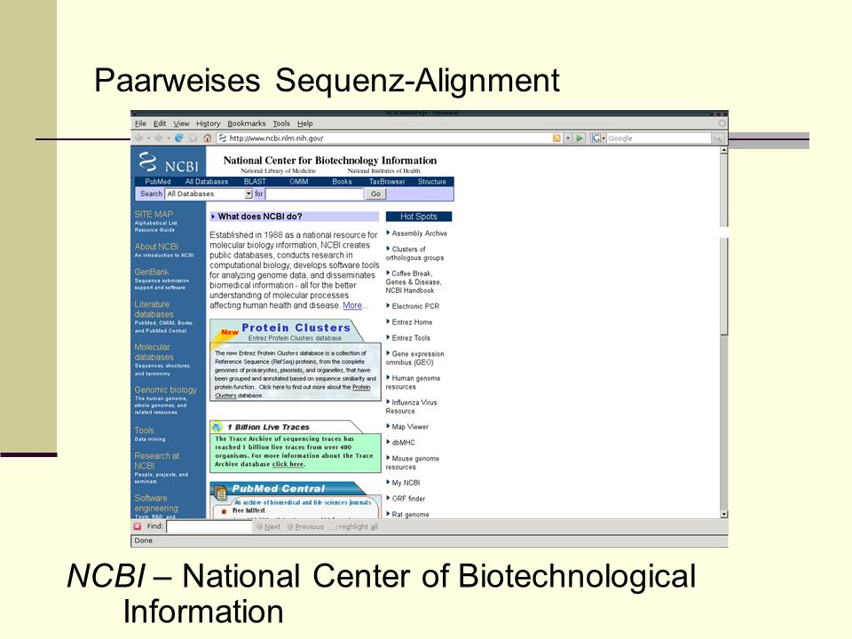 Paarweises Sequenz-Alignment BLAST - Basic Local Alignment Search Tool Idee: Finde lokale Alignments ohne Gaps (HSPs – high scoring segment pairs).