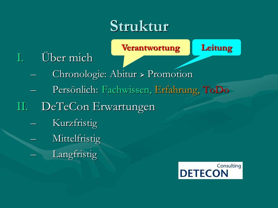 Struktur I.Über mich –Chronologie: Abitur Promotion –Persönlich: Fachwissen, Erfahrung, ToDo II.DeTeCon Erwartungen –Kurzfristig –Mittelfristig –Langf