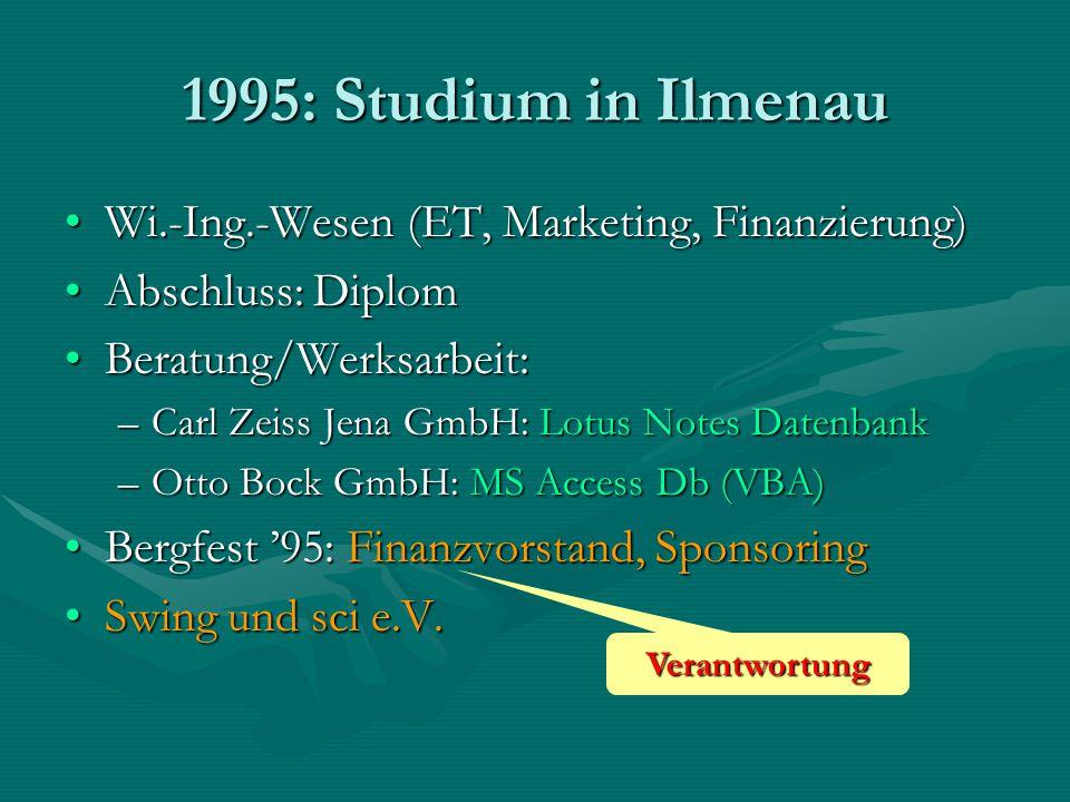1995: Studium in Ilmenau Wi.-Ing.-Wesen (ET, Marketing, Finanzierung)Wi.-Ing.-Wesen (ET, Marketing, Finanzierung) Abschluss: DiplomAbschluss: Diplom B